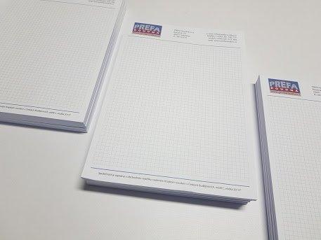 Čtverečkované, lepené bloky A4, Prefa Roudná