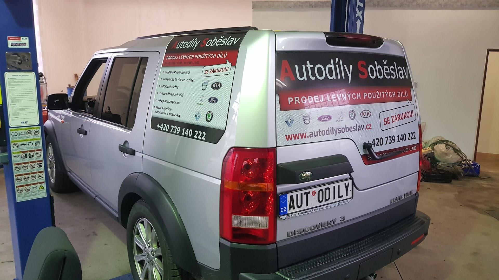 Polep oken Land Rover - Autodíly Soběslav